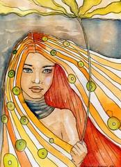 Wall Murals Painterly Inspiration abstrakcyjny portret dziewczyny