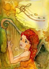 aniołek gra na harfie