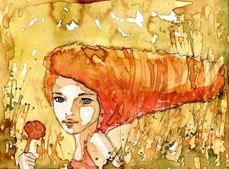 Wall Murals Painterly Inspiration abstrakcyjny poreret dziewczyny