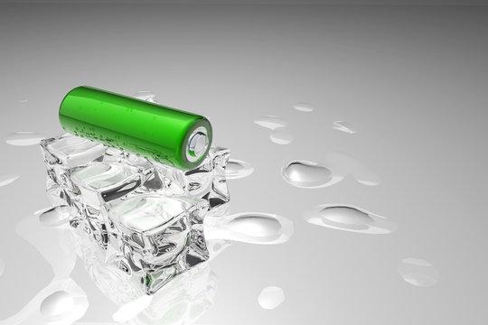 Pila ecologica su cubetti di ghiaccio