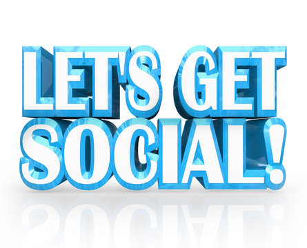 Let's Get Social 3D Words Meet-Up Invitation to Party
