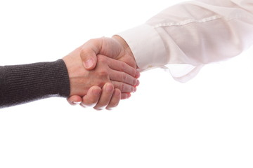 Handshake of business partners, men and women. Isolated