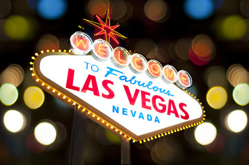 Aluminium Prints Las Vegas welcome to Fabulous Las Vegas Sign at night