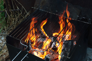 Charcoal, Barbecue fire