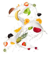Fruit mix in milk splash, isolated on white background