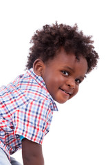 Portrait of a cute black baby boy