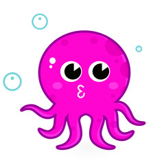 Pink cartoon octopus isolated on white