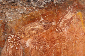 Wall Mural - Aboriginal rock art depicting fishes, Nourlangie