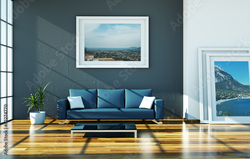 Wohndesign Blaues Sofa Im Loft Stock Photo And Royalty Free