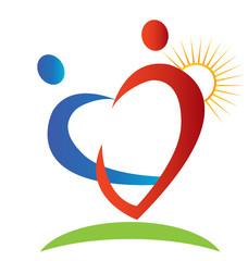 Hearts figures sun and beam logo