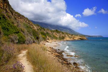 grèce; ioniennes, kefalonia : plage de Aghio Thomas