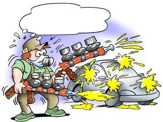Auto painter with two mega pumpgun