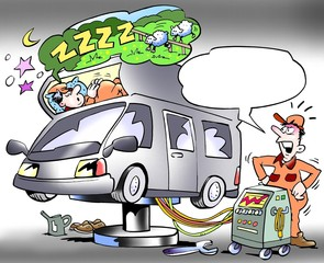 Mechanic testing sleeping compartment of a camper