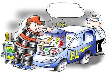 Shockproof mechanic in tire suit