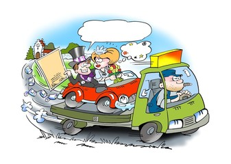 Wedding auto assistance driving
