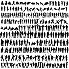 people man and woman and baby silhouette vector