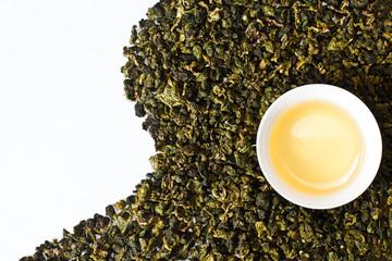 Green tea with a tea cup