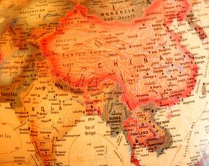 India, China, Thailand on the globe