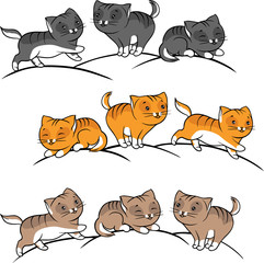 Printed kitchen splashbacks Cats Collection of cute funny cats vector set.