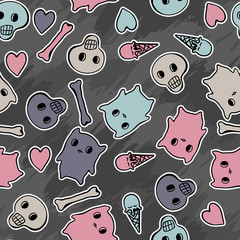 Wall Mural - Skulls, and hearts on black background - seamless pattern.