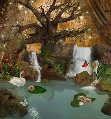 Wall Mural - Enchanted nature series - magic lake in the middle of the forest