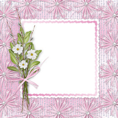 Card for invitation or congratulation with bunch of flowers and