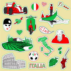 Papiers peints Doodle Italy travel icons