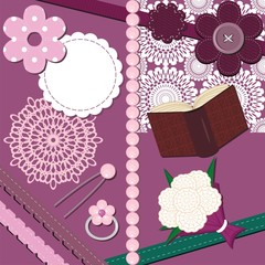set with different scrapbook objects