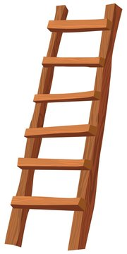 An illustration of a wooden ladder on white