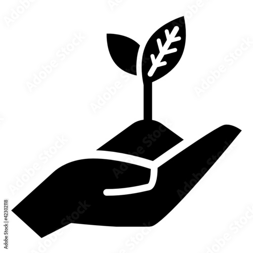 "handful of earth with young plant on open hand, vector icon"" stock"
