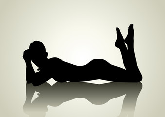 Silhouette illustration of a woman figure lying on the floor