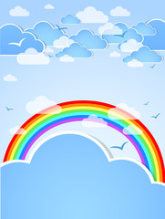 Sky background with rainbow