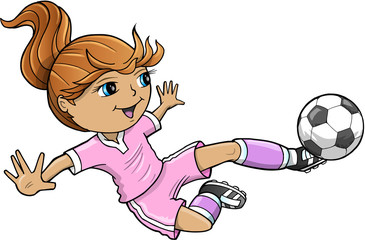 Aluminium Prints Cartoon draw Sports Summer Soccer Girl Vector Illustration
