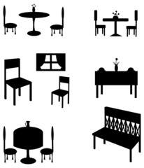Sets of silhouette furniture, create by vector