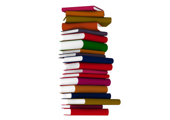 Colourful books over white