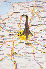 Eiffel Tower in Paris on map.