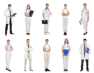 A collage of medical workers isolated on a white background