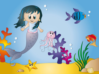 Fotobehang Zeemeermin Seascape cartoon