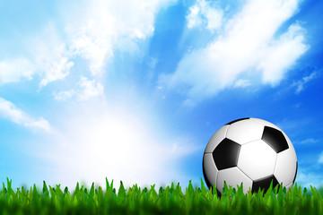 3D football in green grass on blue sky