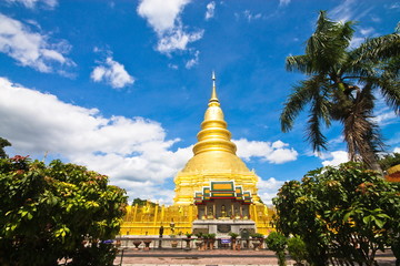 Golden Pagoda at Wat Phra That Hariphunchai , Thailand