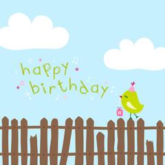 "Green Bird On Fence Singing ""Happy Birthday"" Blue"