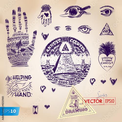 Hand Drawing Symbols Truncated Pyramid Vector Eps10 Image