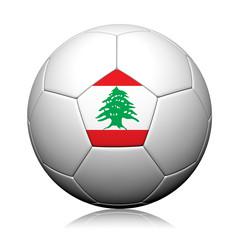 Lebanon Flag Pattern 3d rendering of a soccer ball