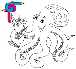 Coloring image octopus