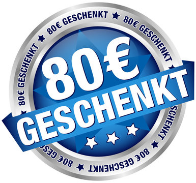 "Button Banner ""80 € geschenkt"" blau/silber"