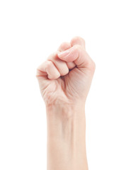 Fist. Gesture of the hand on white background.