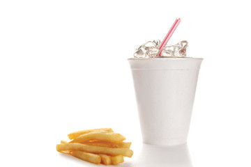 Drink and french fries isolated on white background