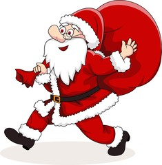 Santa Claus carrying big bag