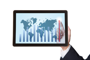 Business hand pointing higher graph on tablet