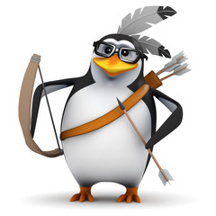 3d Penguin in glasses dressed as native indian